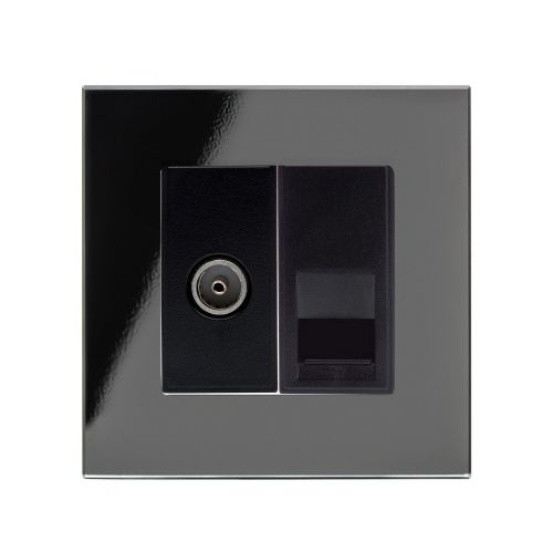 RetroTouch Crystal TV/BT Master Tel Socket Black Glass PG 04074
